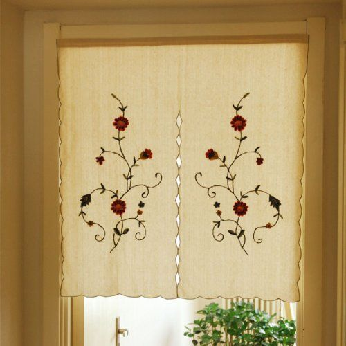 33.4inch By 35.4inch Wavy Flowers Linen Cotton Handmade Embroidery Door Curtain (797435134119) Good apperance with floral pattern embroideried on both side of door curtain The curtain are made with linen cotton and art work by the famous hand-embroidered called Lu Embroidery in north china Easy to install, the heading allows you to hang the curtains directly on a curtain rod or hang by using push pin, Rod shows from picture is not included, sold separately Dimension: W85cm X H90cm (33.4inch…