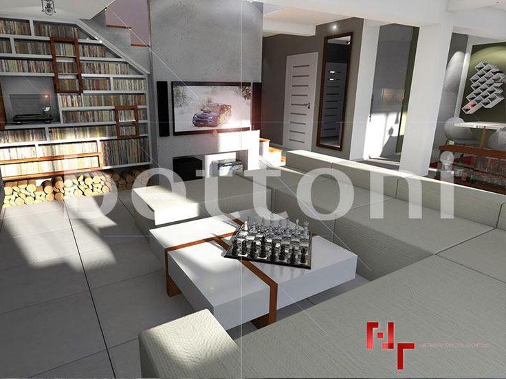 ŚcNowoczesny salon urządzony w jasnych barwach bieli i szarości. dominuje tu lekki minimalizm. Ściana, na której umieszczono telewizor pokryta jest szarymi płytami z betonu architektonicznego. Schody na piętro również wykonane zostały z betonu, a dodatkowo ozdobione są drewnianymi stopnicami.