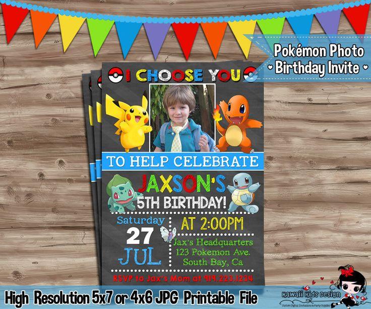 Pokémon Invitation Pokemon Photo Invitation Pokémon Invite Pokemon Go Invite Invitation Pokemon Birthday Pokemon Digital Printable JPG File by KawaiiKidsDesign on Etsy https://www.etsy.com/listing/471125897/pokemon-invitation-pokemon-photo