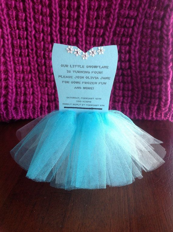 Having a Frozen themed party? These ONE-OF-A-KIND tutu invitations are in the shape of Elsas dress and has lots of details! It is made from