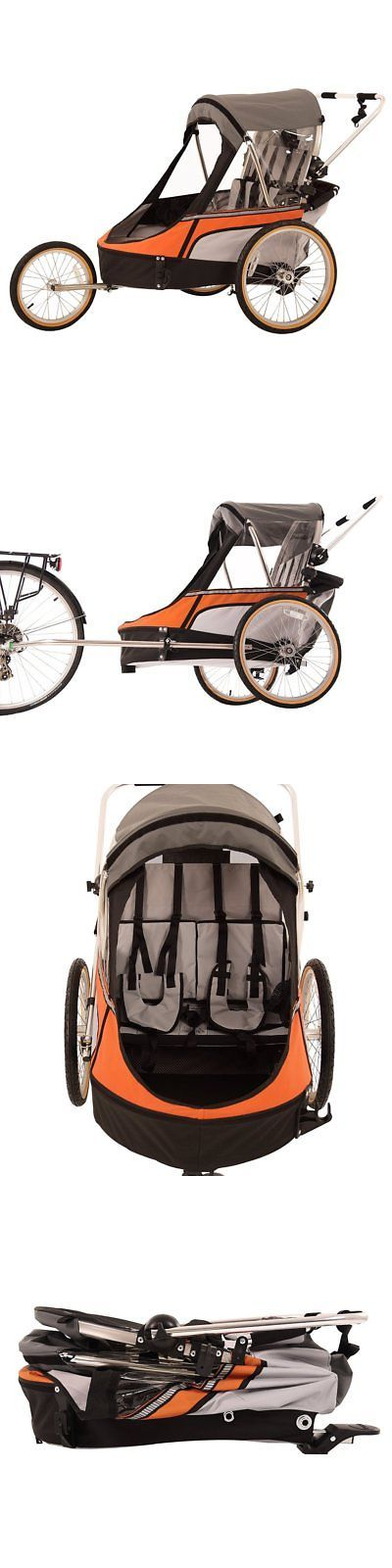 Trailers 85040: New Wike Premium Double 3-In-1 Bike Trailer Stroller Jogger Orange And Gray -> BUY IT NOW ONLY: $474 on eBay!