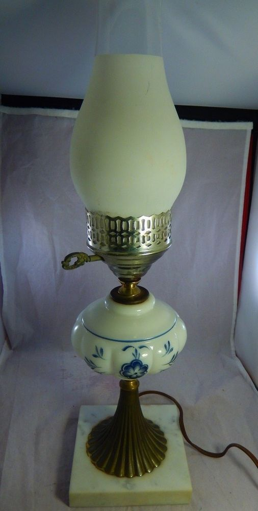 """Vintage Table Lamp Milk Glass Blue Hand Painted Marble Base w/ Chimney 19"""" High"""