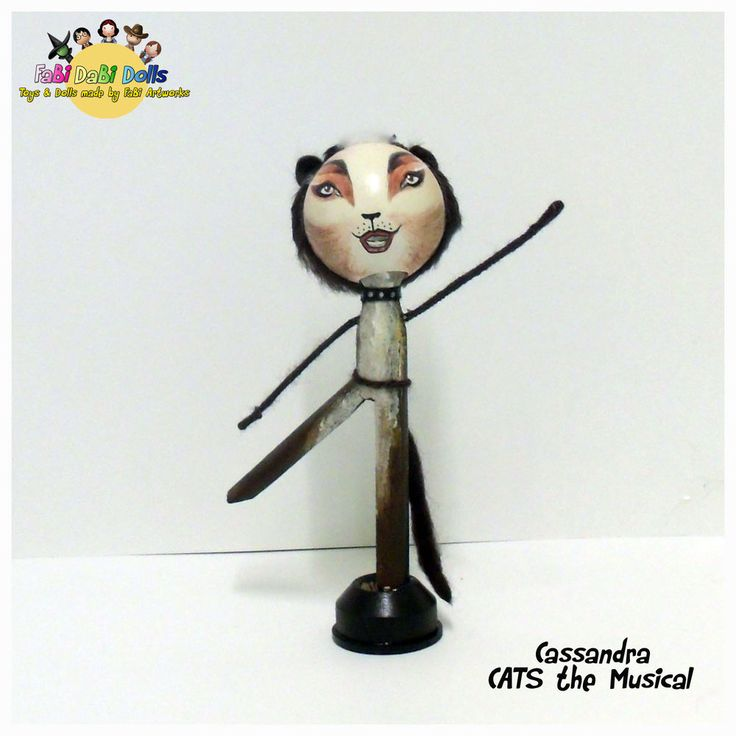 Cassandra CATS the Musical peg doll from FaBi DaBi Dolls