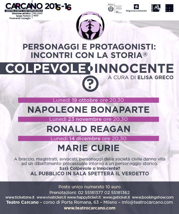 Personaggi e protagonisti: incontri con la storia - a cura di Elisa Greco Teatro #Carcano