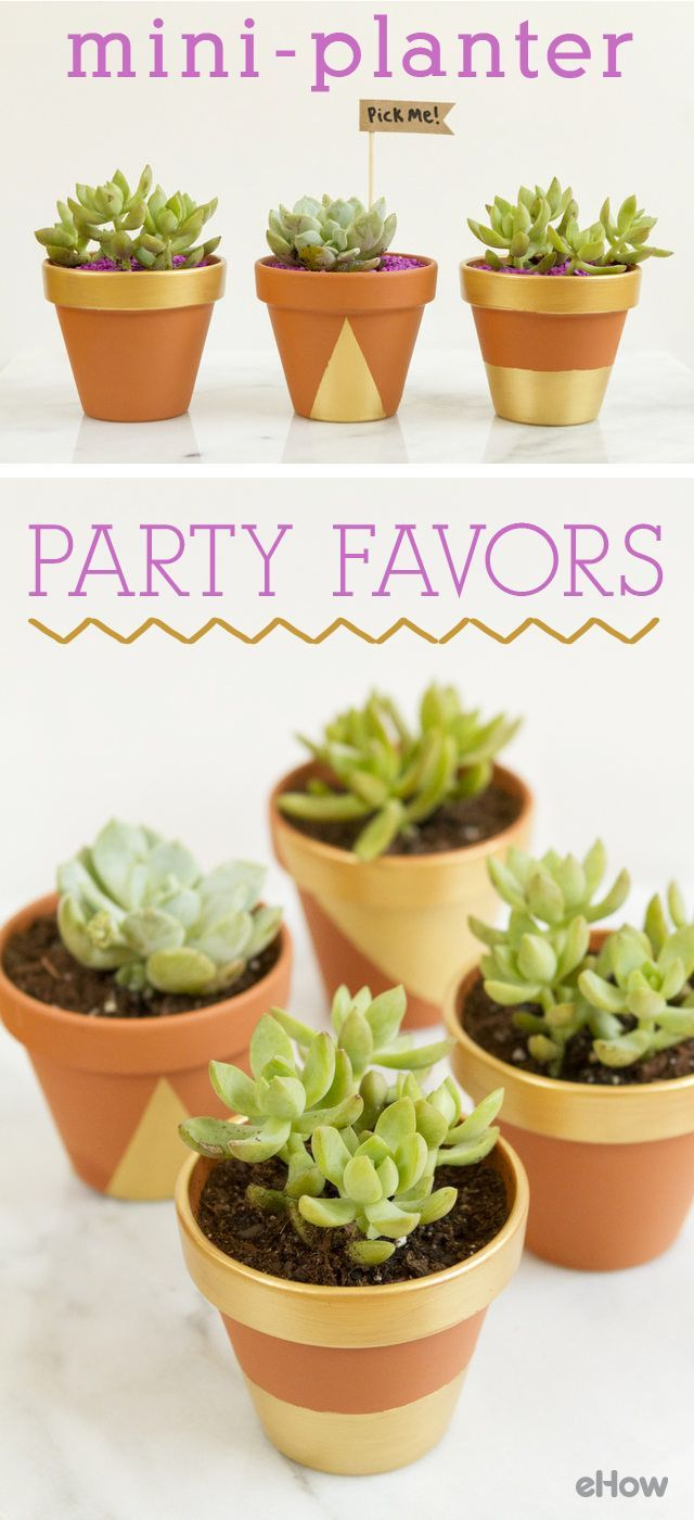 The cutest little party favors ever! You can make these adorable mini-planter party favors to fit basically any theme for any party including baby showers, bridal showers, engagement parties and weddings. And you know people will be all over which one they want to take home so make extras! http://www.ehow.com/how_12340726_make-miniplanter-party-favors.html?utm_source=pinterest.com&utm_medium=referral&utm_content=freestyle&utm_campaign=fanpage