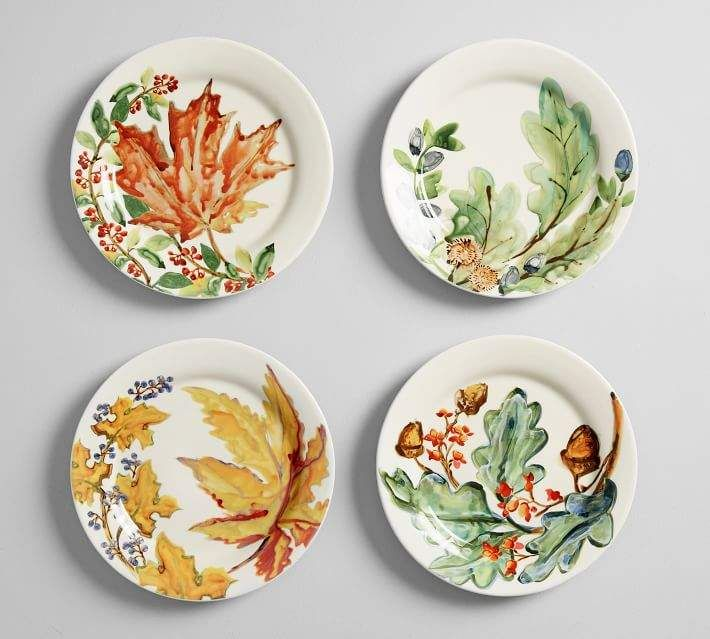Watercolor Autumn Leaves Salad Plates Set Of 4 Assorted Plates Watercolor Autumn Leaves Salad Plates