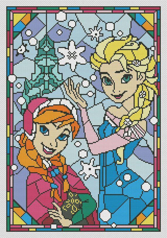 Disney cross stitch pattern Frozen. Anna and Elsa