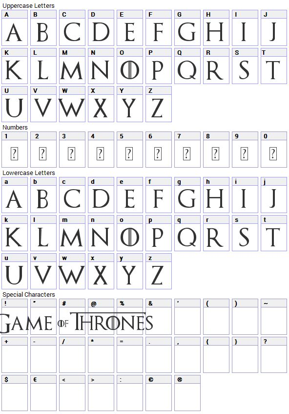 game of thrones font in word