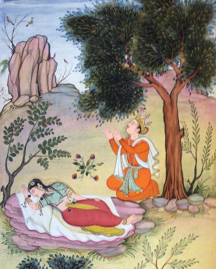 Lakshmana abandons Sita in the forest on orders of #Rama. From 16C Mughal #Mahabharata #MughalArt pic.twitter.com/hJvxQeb6L3