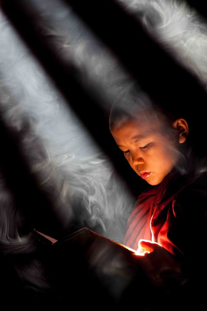 Gorgeous photos. The light sun streams through the ceiling, reflects off the book and into his face.  NOTE: buy a fog machine.    young monk ... | photo: thomas boehm