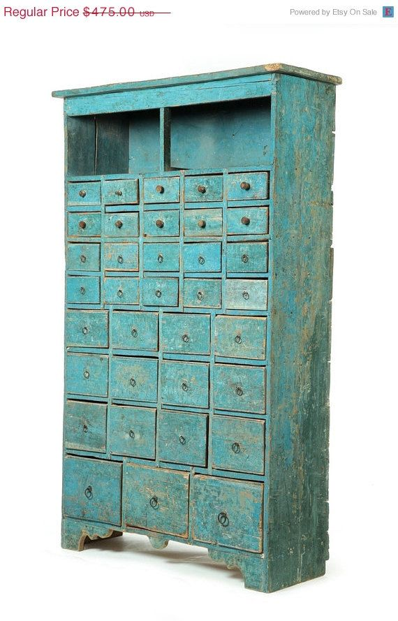 Vintage Style Wood Cabinet With Small Drawers