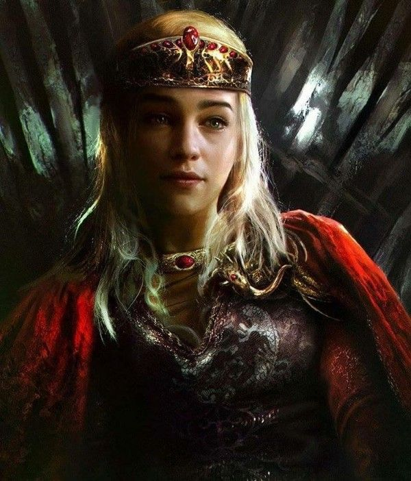 Fan art daenerys on the iron throne game of thrones got for Iron throne painting