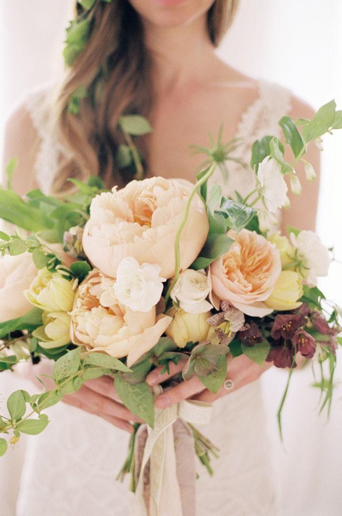 Blush peach yellow cream peach bouquet - Repinned by Expressions Floral Design Studio #Columbus Florist