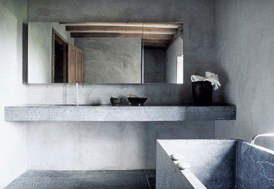 Baderom med betong vegger