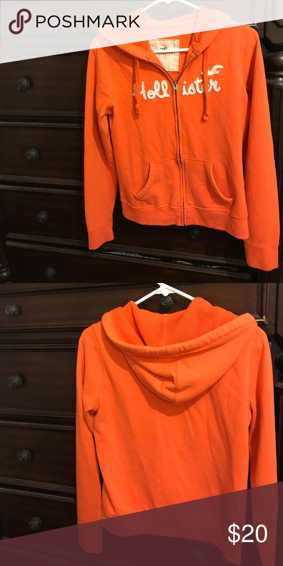 Ladies Hollister Sweatjacket The item you are looking at is a Ladies Hooded Full zip-up sweat jacket.  Size Large but runs smaller, it fits more like a medium.  This item is in great condition as you can see in the pics.  Thanks for looking! 😊 Hollister Jackets & Coats