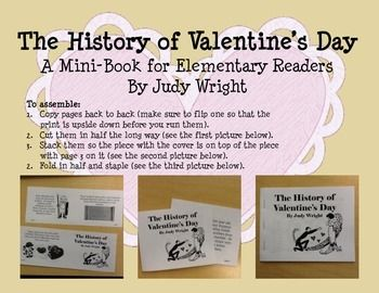 an eight page mini book detailing the history of valentines day there are