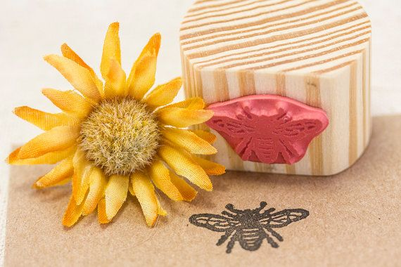Honey Bee Rubber Stamp by SayaBell Stamps. by SayaBellStamps, $4.25