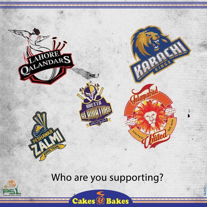 Comment & let us know your favorite #PSL team. #CakesandBakes #Cricket #PSLT20 #LahoreQalandars #PeshawarZalmi #QuettaGladiators #KarachiKings #islamabadunited