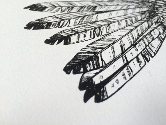 Indiase hoofdtooi Print zwart-wit afdrukken 297 door owlsroadstudio