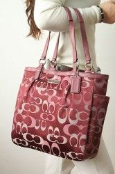 COACH F20442 Gallery Optic Signature N/S Tote Bag Handbag Purse Bordeaux NWT