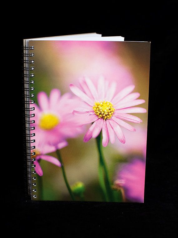 Daisy Notebook  A5 size 90 blank pages purple by ErinnaImagery, $15.00