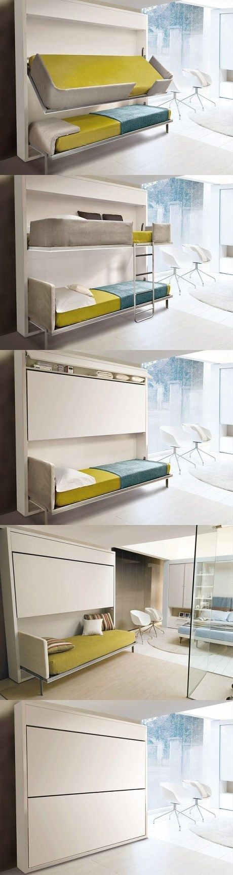 Folding double-deck bed. Cool for kids sleep overs and saves space too! It looks space age sci fi like.