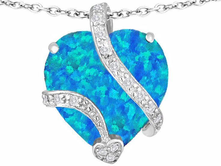 Star K 15mm Heart Shape Blue Simulated Opal Love Pendant: