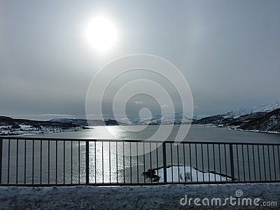 Scenic view of the coastline North or Norway pictured in winter.