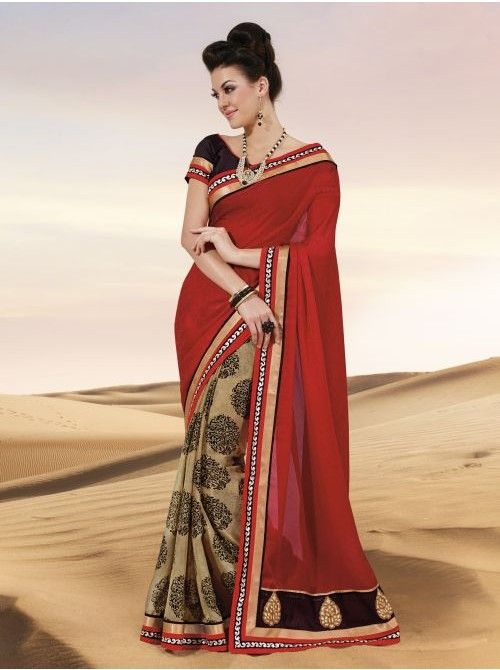 Red and chickoo Jacquard Silk Half and Half Saree #Red #Silk #HalfAndHalfSaree #BuySilk #BuySaree #Saree