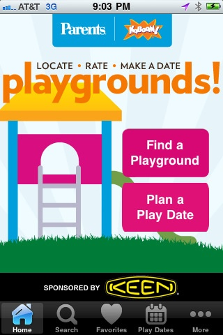 Find playgrounds in your area, rate them, make playdates, check-in, and more with the Playgrounds! mobile application from Parents Magazine and KaBOOM!