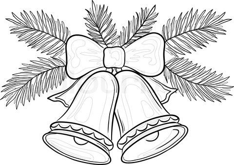 Vektor af 'Vektor , Julepynt : klokker med bue og gran grene , konturer'