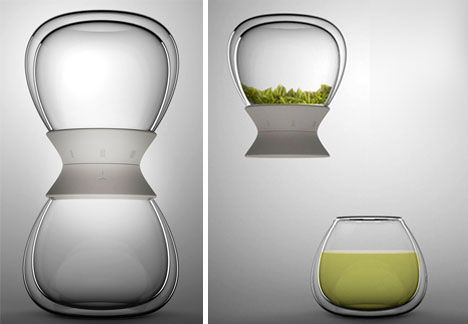 Hourglass-Inspired Tea Timer both Times & Steeps Hot Tea A pair of identical glass vessels twist together mechanically via a plastic joiner piece to form the sealed middle between two hourglass-shaping bulbs, each sized for a single two-person serving of tea.