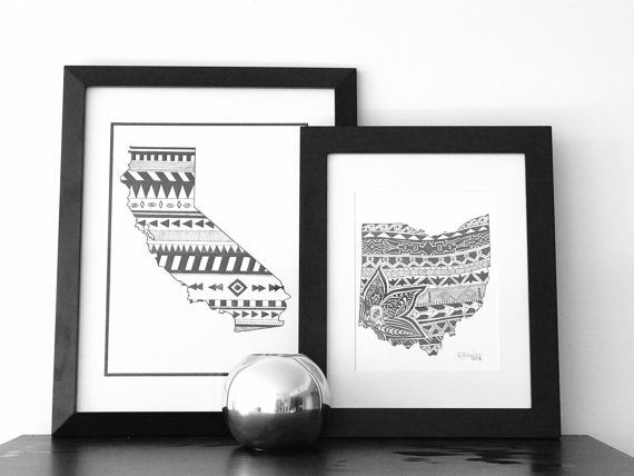 Custom, drawn-to-order, pen and ink U.S. state art or country art design. #zentangle #mandala #blackandwhite #illustration #penandink #california #stateart #ohio #art