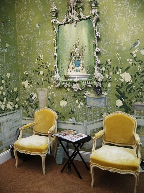 Nice Green Chinoiserie Room Mural With Yellow Armchairs