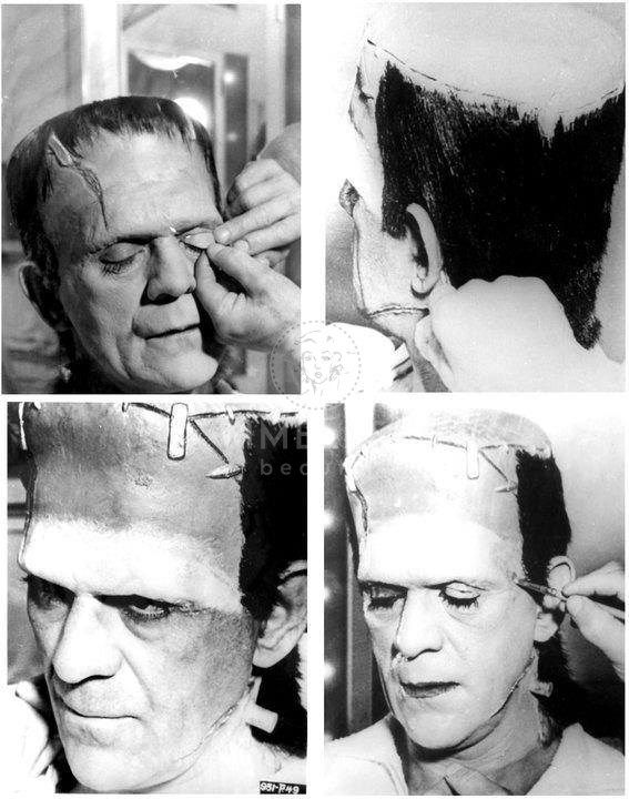 Frankenstein and Jack Pierce 1931 - Timeless  Jack Pierce effettuava un make up molto complesso per raggiungere il risultato che tutti noi conosciamo. è stato colui che ha creato l'iconica immagine del mostro per eccellenza. bel 5 le ore di make up per truccare il protagonista Karloff.