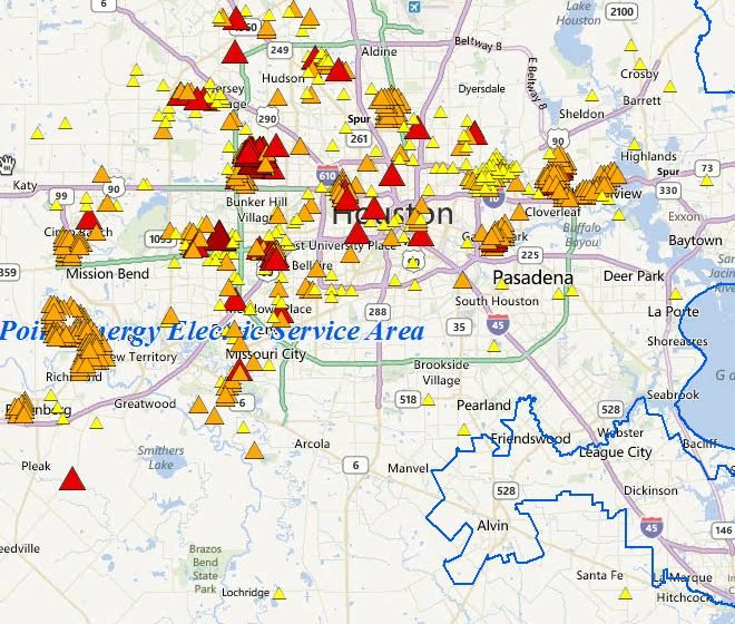 CenterPoint Energy provides this map of the latest power outages with estimated repair times. Click here to view the map. For information on how to report a power outage, call 713-207-2222. For Texas New Mexico power outages, click here.