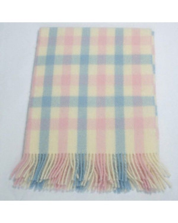100% Pure Wool Baby Throw - Baby Pink, Baby Blue & Cream Ref: BB2