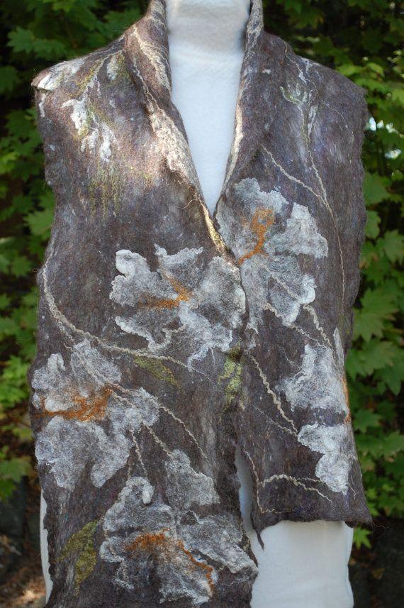 alpaca and silk felted Scarf in organic rustic by FairyFelting, $65.00