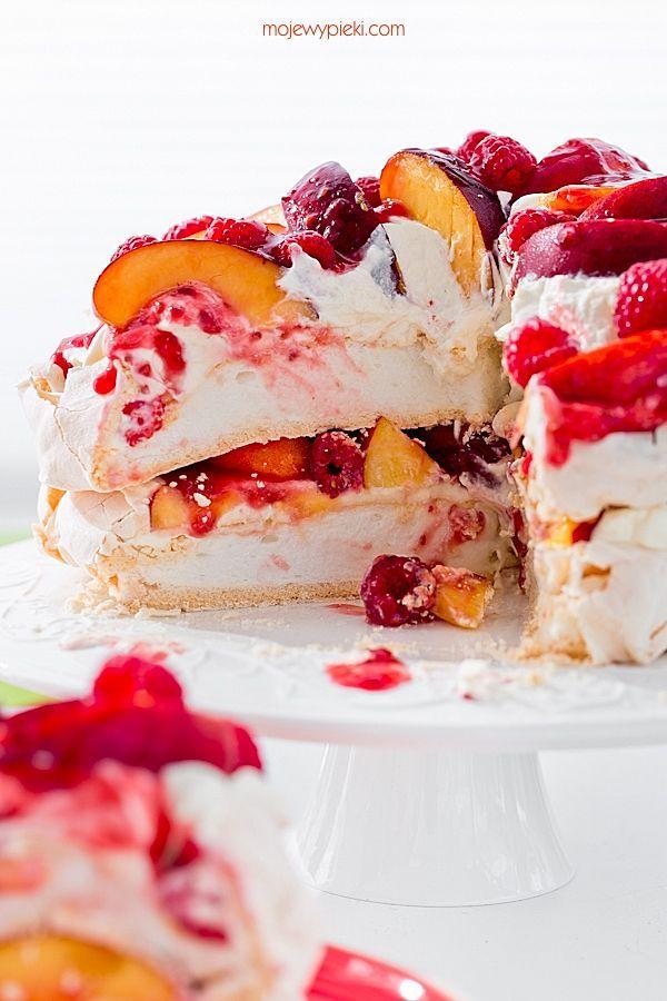 Moje Wypieki | Tort bezowy brzoskwiniowa melba