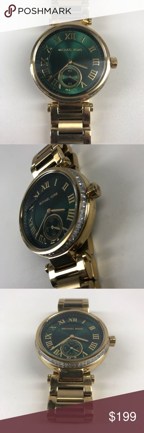 Limited Edition Green Dial Michael Kors Watch Model #: MK6065 / Name: Skylar / 100% Authentic Both bold and ultra-feminine, this watch makes a strong statement with its classic gold-tone, roman numeral indexes and a bold emerald sunray dial. A glitz topring adds eye-catching allure. Comes lightly used with minimal scratches and the protective plastic underneath. The crystal is in good condition.   *Price is negotiable! Just send me an offer.  - No extra links, needs a new battery and does…