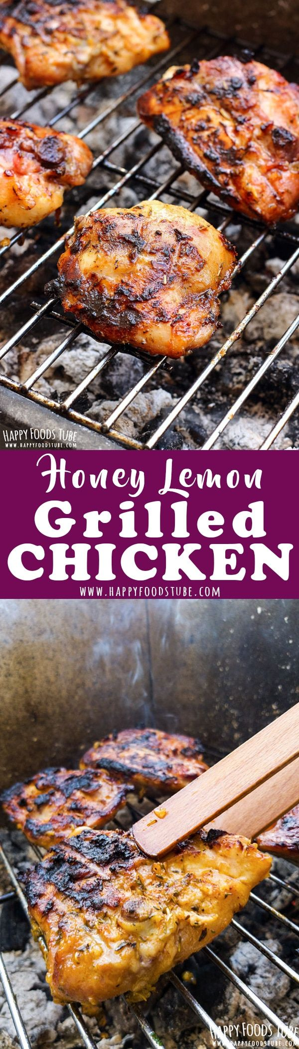 Easy honey lemon grilled chicken recipe. Chicken tights are flavored with homemade grill seasoning, marinated in honey, lemon and garlic then grilled to perfection. How to make honey grilled chicken via @happyfoodstube