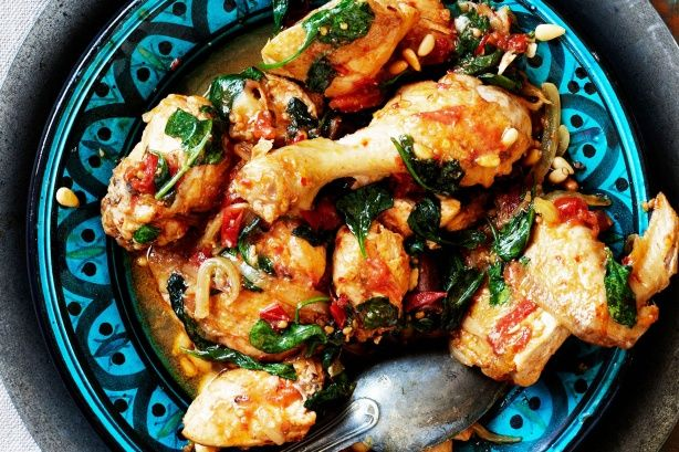 Braised chicken with spinach & pine nuts #RealStock #Recipes #MadefromScratch