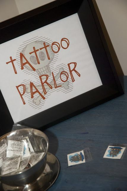 """Feathers & Sunshine: Aarrrgghh Matey!! A Pirate Birthday Party  - LOVE that """"Tattoo Parlor"""""""