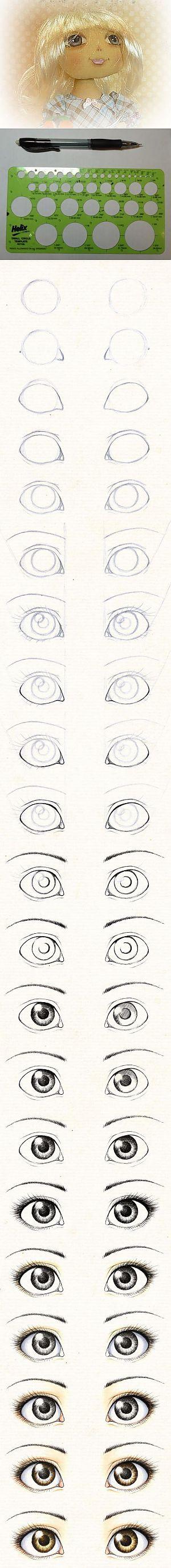 Рисуем глаза текстильной кукле. Шаг за шагом...