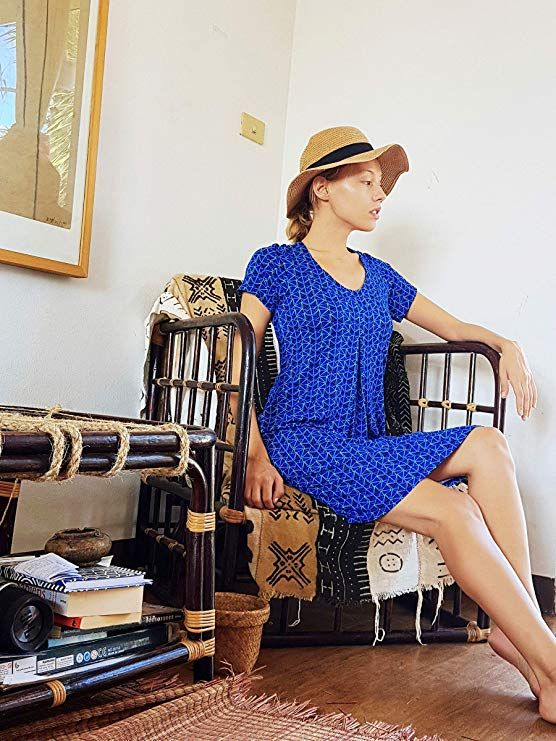 6c58fc4cd54 Amazon.com: Nanakee Front Pleated Tunic Dress - Flattering Belly Cover  Loose Fit Printed Shift Dress Short Sleeve T-Shirt Dress: Clothing