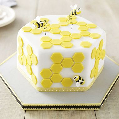 Deep Hexagonal Cakepan - From Lakeland  hexagon shape bumble bee cake with honeycomb shapes