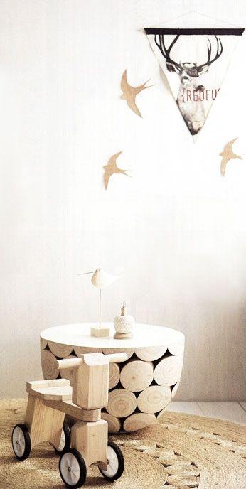 = flag and birds, Mark Tuckey table and Armadillo rug