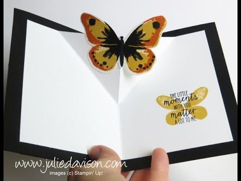 Julie's Stamping Spot -- Stampin' Up! Project Ideas by Julie Davison: VIDEO: Diagonal Pop Up Card Tutorial with Stampin' Up! Watercolor Wings