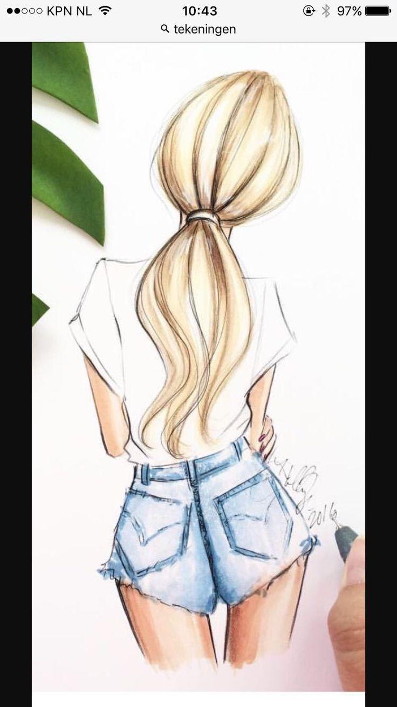 Легкие картинки для срисовки карандашом девочки задом