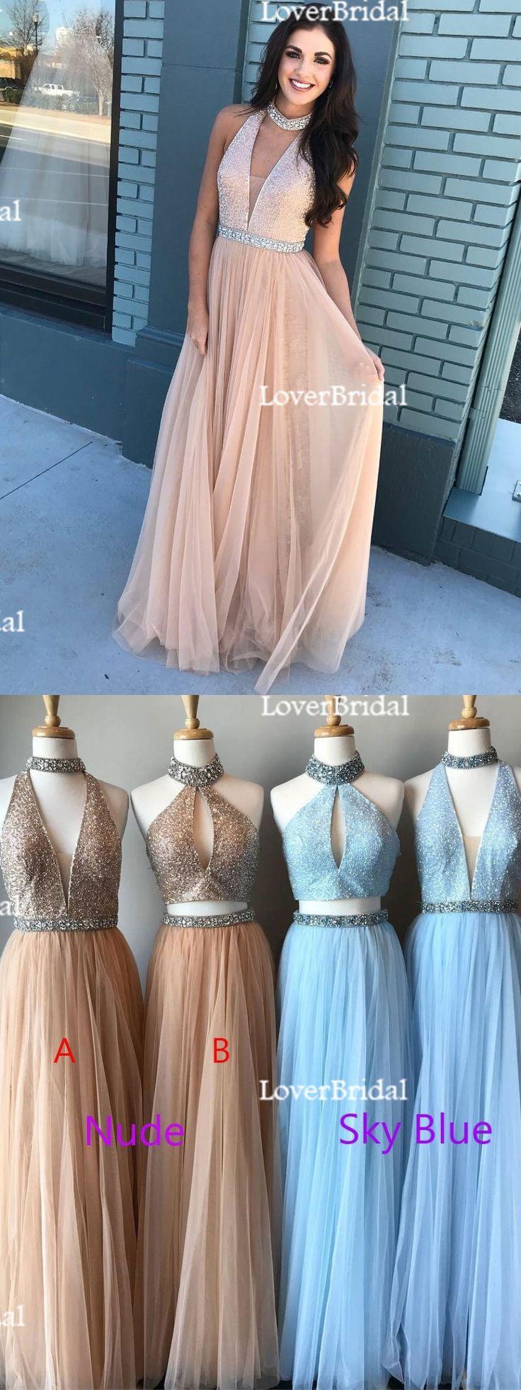 2018 Cheap Elegant Fashion Sexy Halter Tulle Beaded Custom Long Evening Prom Dresses, 17358